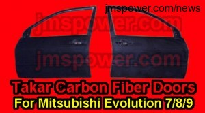 Takar Carbon Fiber Front Doors for Mitsubishi Evolution 7 8 9